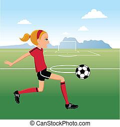 cartoon, pige, spiller soccer
