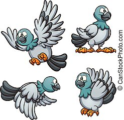 Cartoon pigeon in different positions. Vector clip art ...