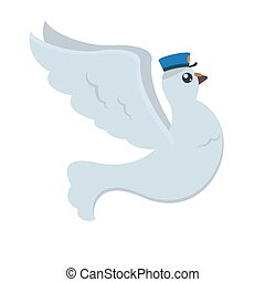 Cartoon pigeon post with blue postman's hat with open wings in fly