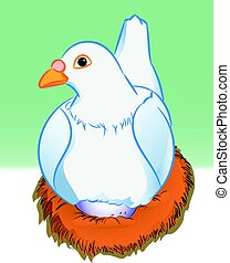 Cartoon pigeon with egg in nest - Vector Illustration