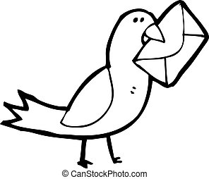 cartoon pigeon with envelope