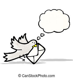 cartoon pigeon with letter