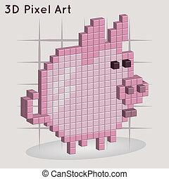 Cartoon piggy. 3D Pixel Art.