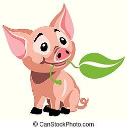 cartoon piglet - cartoon little baby pig . Happy piglet...