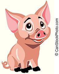 cartoon piglet - happy piglet . Cartoon little pig isolated...
