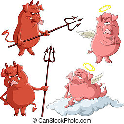 Cartoon piglets Angels and Demons, vector illustration
