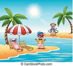 Cartoon pigs enjoy a summer vacation on the beach