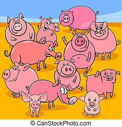 cartoon pigs farm animal characters group