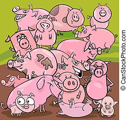 cartoon pigs farm animals group