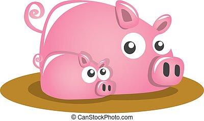 cartoon pigs on the mud