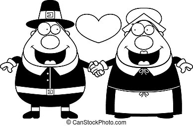 Cartoon Pilgrim Couple - A cartoon illustration of a Pilgrim...