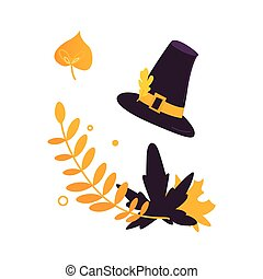 Cartoon pilgrim hat and fall, autumn leaves