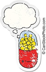 cartoon pill and thought bubble as a distressed worn sticker