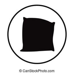 Cartoon pillow silhouette vector illustration.