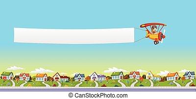 Cartoon pilot boy. Airplane pulling a banner over suburb neighborhood.