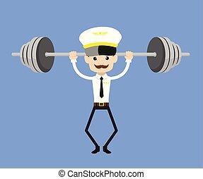 Cartoon Pilot Flight Attendant - Doing Weight Lifting