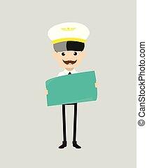 Cartoon Pilot Flight Attendant - Holding a Paper Banner