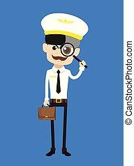 Cartoon Pilot Flight Attendant - Watching with Magnifier