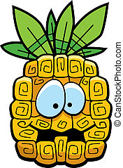 Cartoon Pineapple - A cartoon yellow pineapple with eyes and...