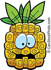 Cartoon Pineapple - A cartoon yellow pineapple with eyes and...