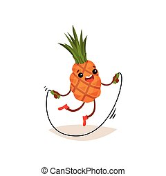 Cartoon pineapple exercising with jumping rope. Funny humanized fruit with happy face expression. Flat vector design