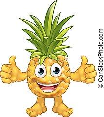 Cartoon Pineapple Fruit Mascot Character