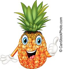 Cartoon pineapple giving thumbs up - Vector illustration of...