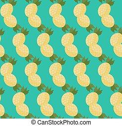 Cartoon Pineapples seamless pattern