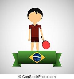 cartoon ping-pong player brazilian label