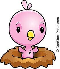 Cartoon Pink Bird Nest - A cartoon illustration of a baby...
