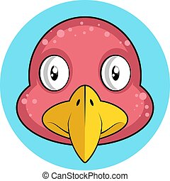 Cartoon pink bird with yellow beak vector illustration on white background