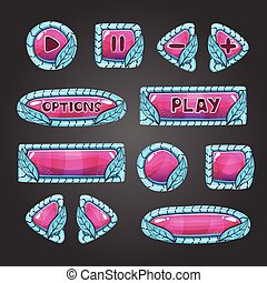 Cartoon pink buttons with blue leaves