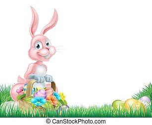 Cartoon Pink Easter Bunny Egg Hunt
