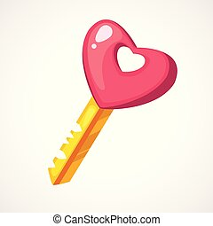 Cartoon pink heart shaped key. Vector illustration