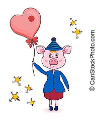 Cartoon pink pig in winter clothes. Cute new year character. Animal with a balloon. I