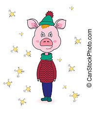 Cartoon pink pig in winter clothes. Cute new year character. Isolated image