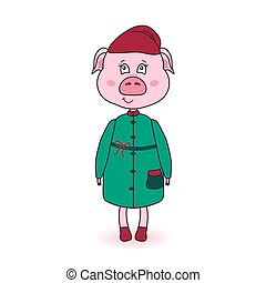 Cartoon pink pig in winter clothes. Cute new year character.