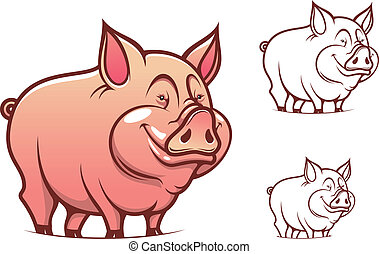 Cartoon pink pig - Farm cartoon pink pig isolated on white