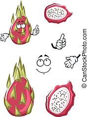 Cartoon pink pitaya or dragon fruit