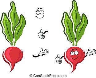 Cartoon pink radish vegetable character