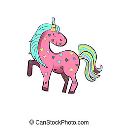 Cartoon Pink unicorn with colorful hearts, Isolated on white background. illustration.