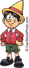 Cartoon Pinocchio - Happy Pinocchio marionette. Vector clip...