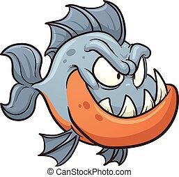 Cartoon piranha. Vector clip art illustration with simple...