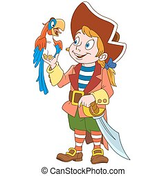 Cartoon pirate and parrot