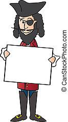 Cartoon Pirate and Sign