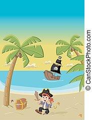 Cartoon pirate boy