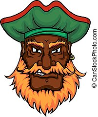 Cartoon pirate captain in green hat
