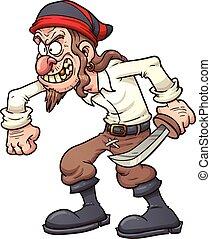 Cartoon pirate - Crazy cartoon pirate. Vector clip art ...