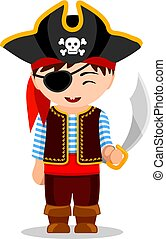 Cartoon pirate. Cute little kid in costume. Vector flat...