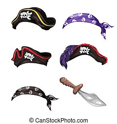 Cartoon pirate hats, scarves with skulls and a knife.